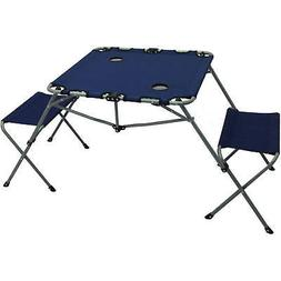 2-In-1 Chair & Table Set, Steel Seats w/ Cup Holders, Outdoo