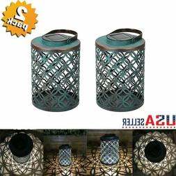 2X Outdoor Solar Lantern Light Garden Hanging Metal Lights L
