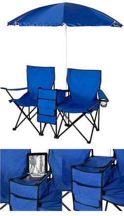 2X Reclining Camping Chairs & Table Cooler Blue Umbrella Can
