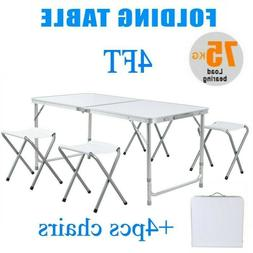 4 FT Portable Folding Table Outdoor Picnic Plastic Camping D