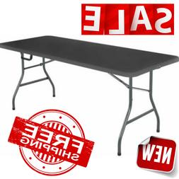 6 FT FOLDING TABLE Portable Centerfold Plastic Indoor Outdoo