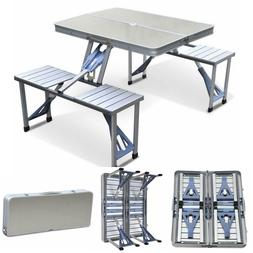 Aluminum  Folding Camping Picnic Table With 4 Seats Portable