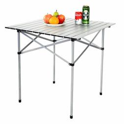 Aluminum Roll Up Table Folding Camping Outdoor Indoor Picnic