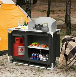 Camping Kitchen Picnic Cabinet Table Portable Folding Cookin