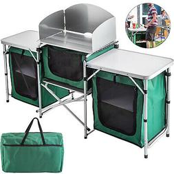 Camping Kitchen Picnic Cabinet Table Portable Folding Cook S