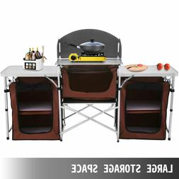 VEVOR Camping Kitchen Table with Windscreen & Storage Organi