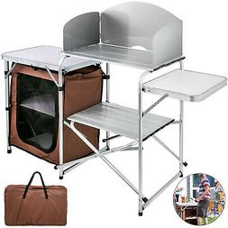 Camping Kitchen Table Picnic Cabinet Folding Cooking Storage