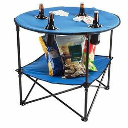 Camping Table Folding Portable 4 Cupholders Carry Bag Picnic