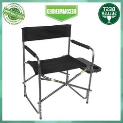 Directors Camping Chair Foldout Side Table Black Heavy Duty