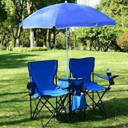 Double Folding Chair Umbrella Table Picnic Beach Camping Fis