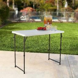 4 Feet Adjustable Table Fold-in-Half White Granite Foldable