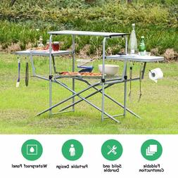 Foldable Camping Table Outdoor Kitchen Portable Grilling Sta