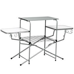Foldable Outdoor BBQ Table Grilling Stand Camping Kitchen Fo