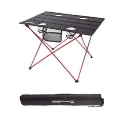 Folding Camping Table With 4 Cupholders And Carrying Bag In
