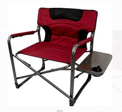 Folding Padded Chair XXL with Side Table for Beach, camping