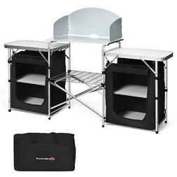 Folding Portable Aluminum Camping Grill Table w/ Storage Org