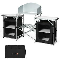 folding portable aluminum camping grill table w