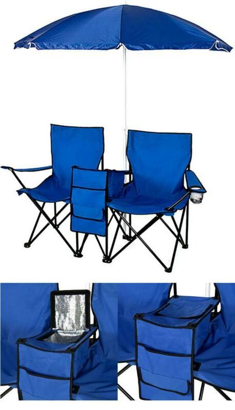 2x reclining camping chairs and table cooler