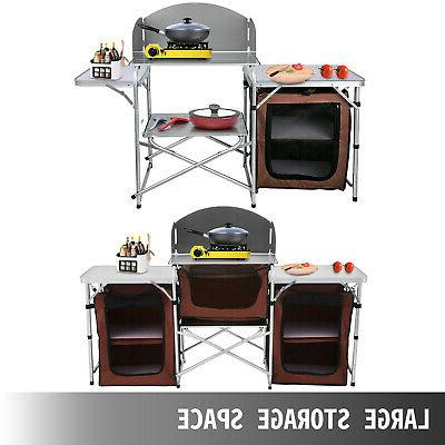 Camping Table Cabinet Rack w/