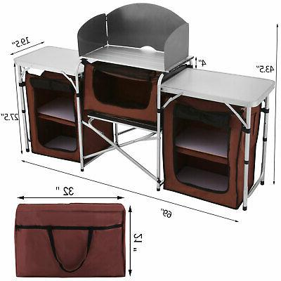 Camping Kitchen Picnic Cabinet Table Rack w/
