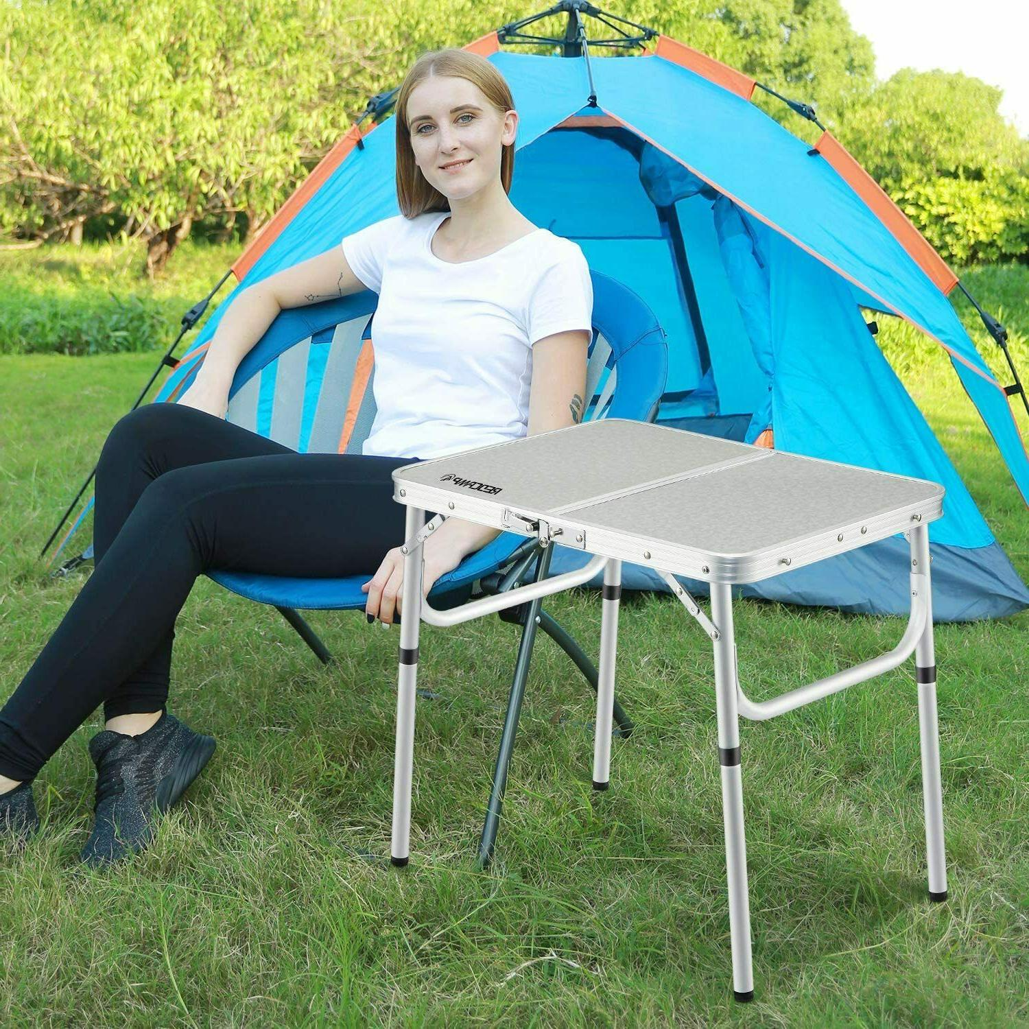 REDCAMP Small Folding Table Portable White 2