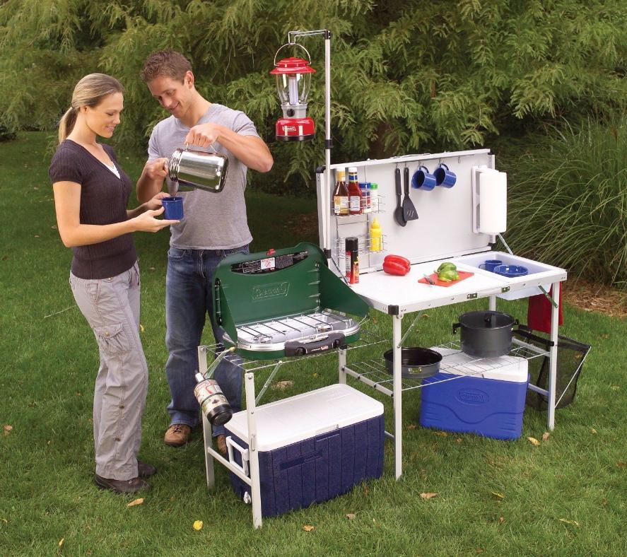 camp kitchen sink portable folding cupboard table