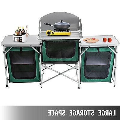 Camping Kitchen Table Portable Storage Green