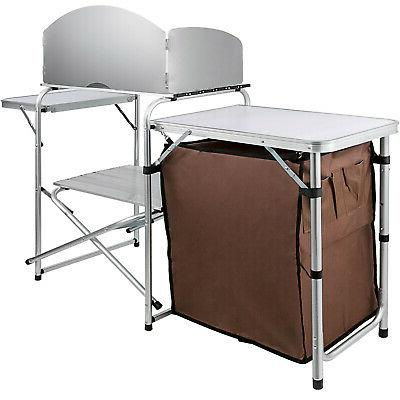 Camping Kitchen Table Picnic Cabinet Storage Rack
