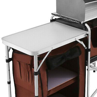 Camping Table Picnic Cabinet Table Cooking Storage Rack
