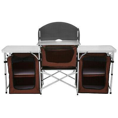 Camping Table Picnic Cabinet Table Portable Cooking