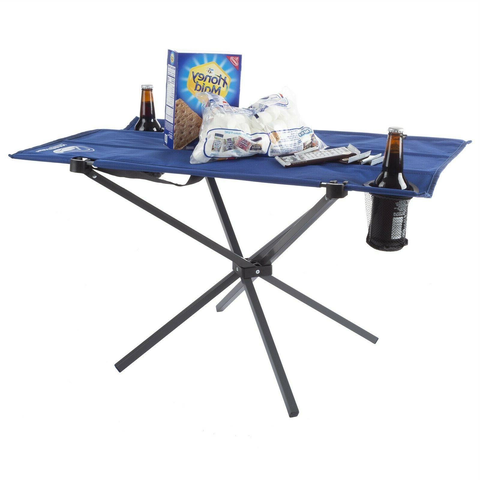 camping table folding portable 2 cup holders