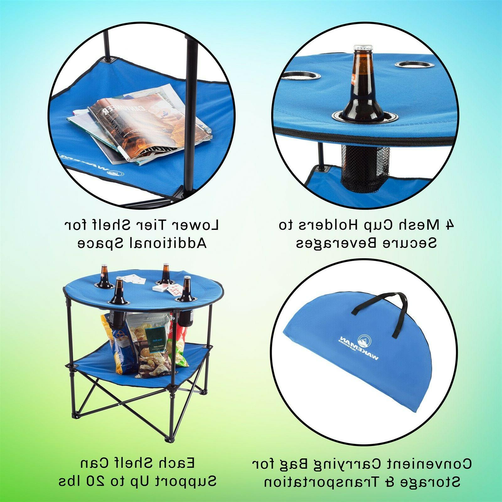 Camping Table Folding Portable 4 Cupholders Picnics Beach Events