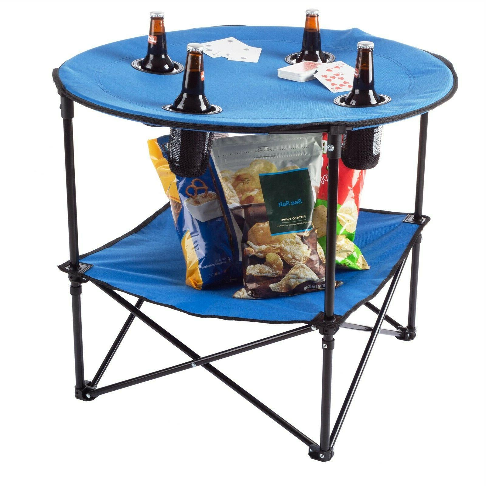 camping table folding portable 4 cupholders carry