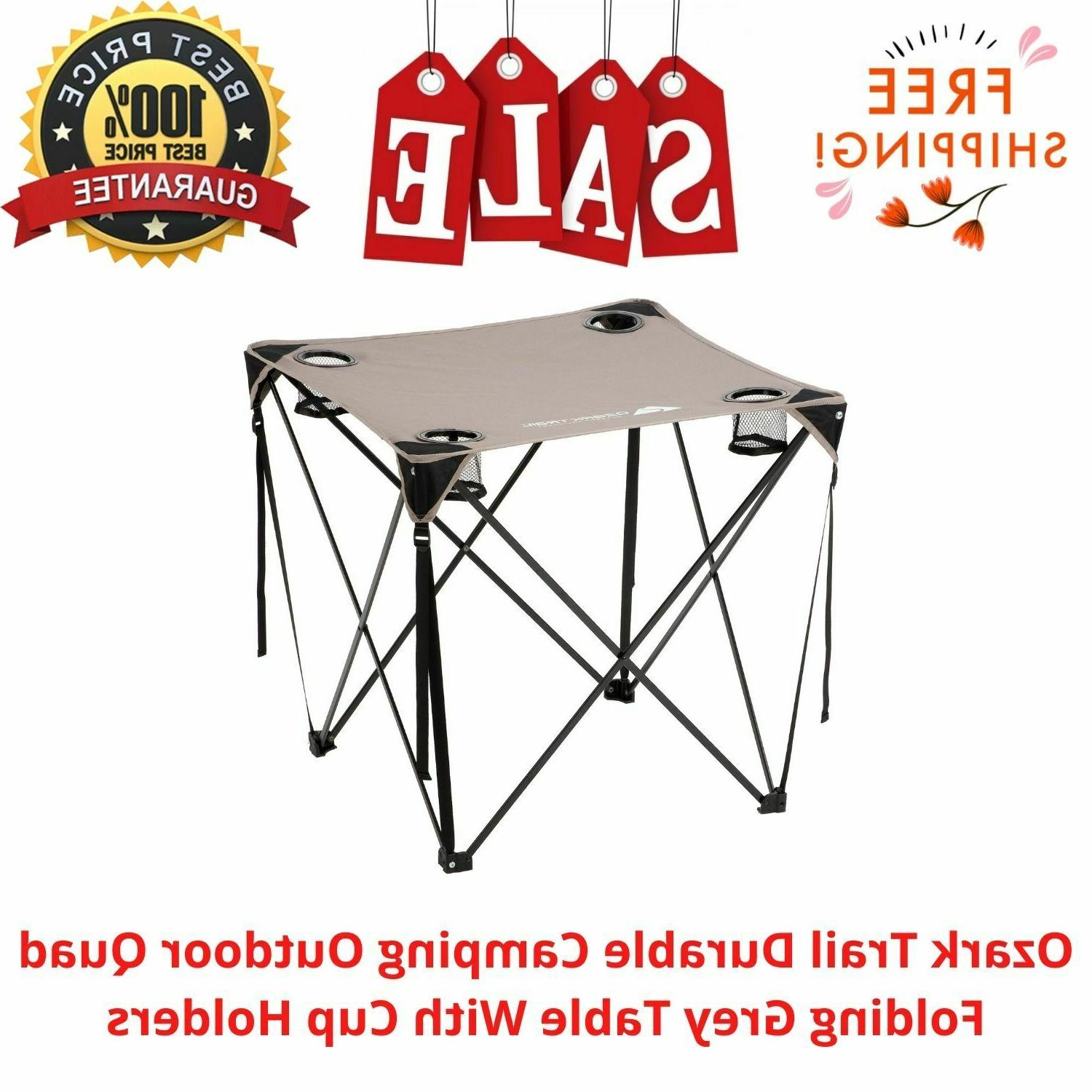 durable camping outdoor quad folding grey table