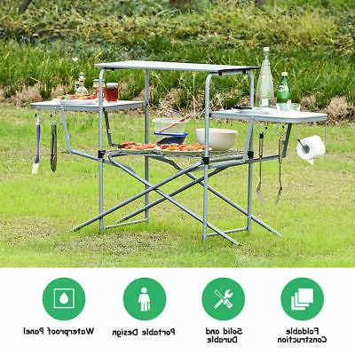 Outdoor Slim-Fold Camp Kitchen Portable Camping Cook Grilling Station BBQ