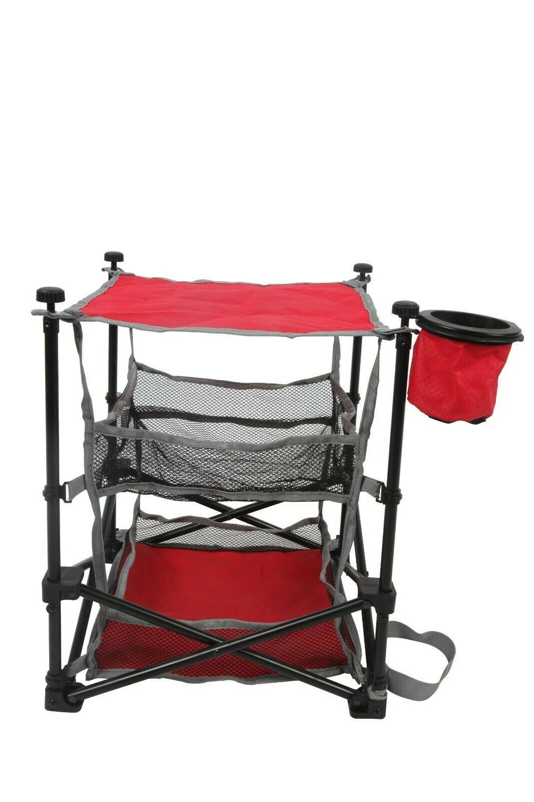 foldable lawn end table with three shelves