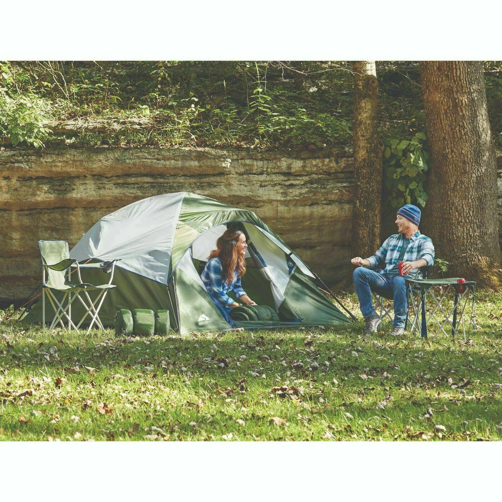 🔥Ozark 6 Piece Camping Combo,4-Person Instant Tent,Chairs,Sleeping bags,Table