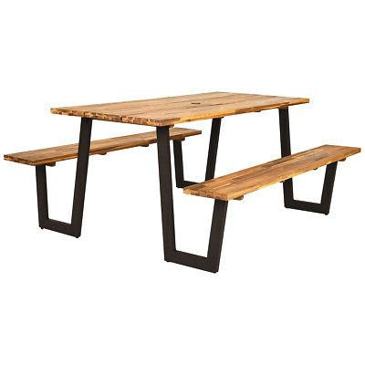 Picnic Table Bench Set Outdoor Camping Wooden 2 Built-in Ben