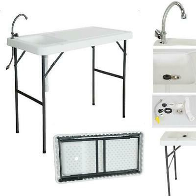 portable camping folding fish cutting table sink