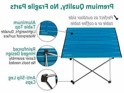 Portable Camping Side Tables with Table Top: Hard Small Blue