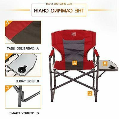 Portable Director's Chair with Table Red