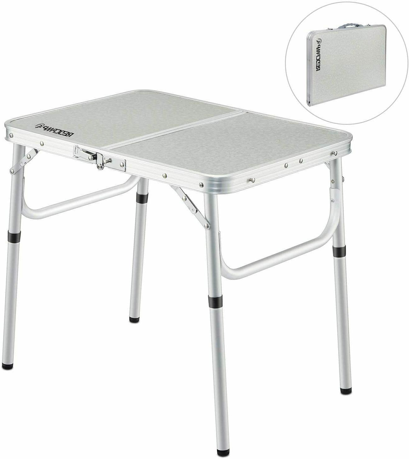 small folding camping table portable adjustable white
