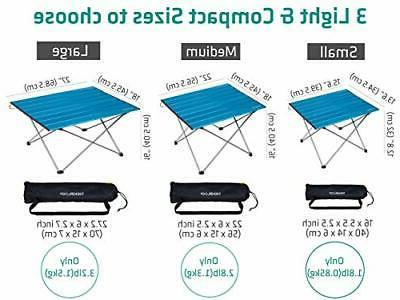 Portable Camping Side with Aluminum Hard Small Blue