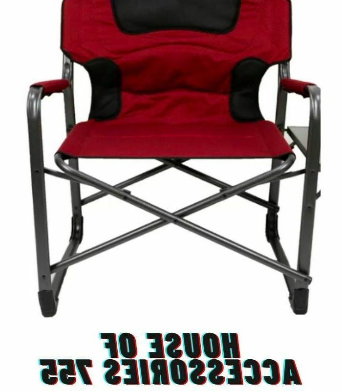 Ozark Padded Director Chair Side Table Red Hiking