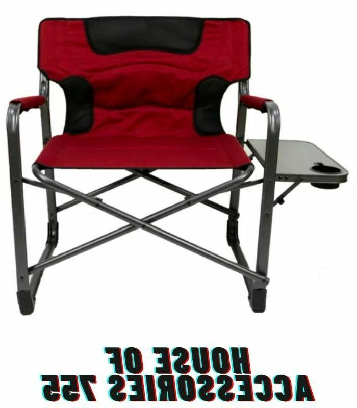 xxl folding padded director chair with side
