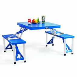Outdoor Camping Foldable Picnic Table w/ Bench 4 Seat
