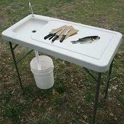 Outdoor Fish Cleaning Camp Furniture Cutting Table with Sink