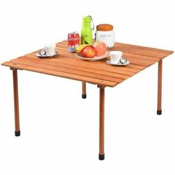 Wood Roll Up Table Folding Camping Outdoor Indoor Picnic w/