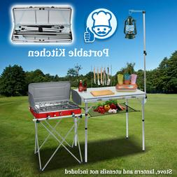 Outdoor Portable Camping Kitchen Folding Alu. Table BBQ Gril