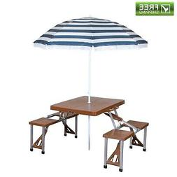 Picnic Table And Umbrella Combo Heavy Duty Adjustable Outdoo